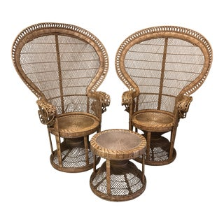 1970s Emmanuelle Wicker Rattan Peacock Chairs & Matching Table - A Pair