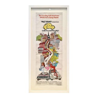 "1977 Original Film Poster Lithograph Disney's ""Herbie Goes to Monte Carlo"""