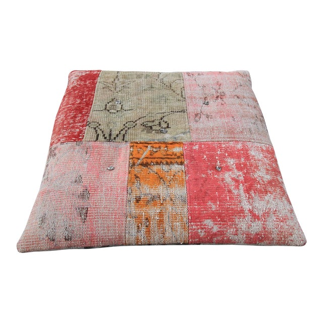 Vintage Turkish Patchwork Floor Pillow - Image 1 of 5
