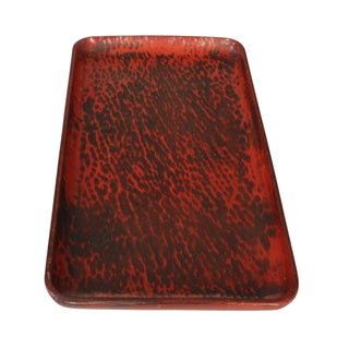 Red Asian Style Lacquer Trays - A Pair