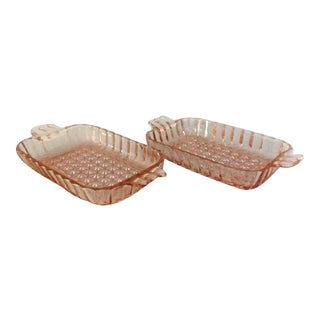 Vintage Rose Pressed Glass Relish Dishes - Pair