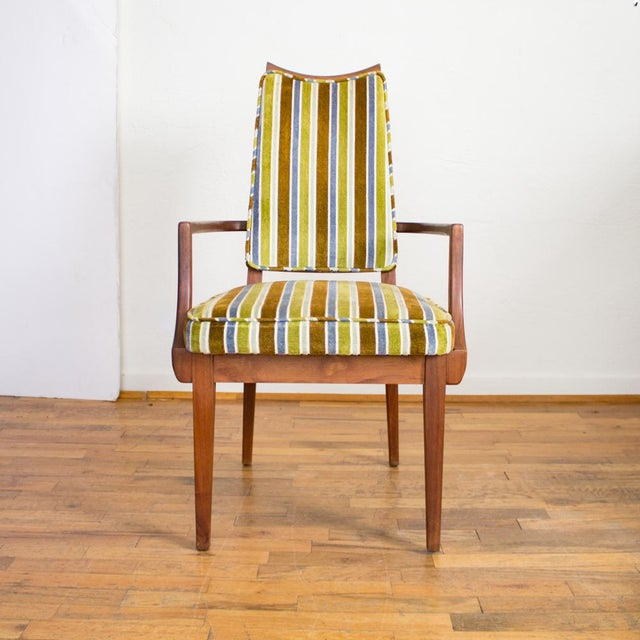 Mid century modern striped upholstery dining chairs set for Striped upholstered dining chairs