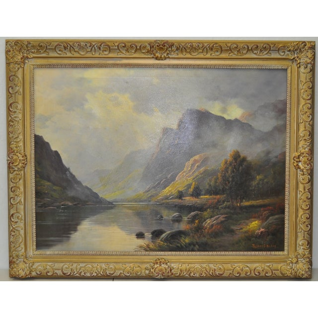 Image of Antique 1920s Scottish Highlands Oil Painting