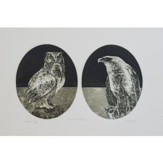 """Signed Coughlin Etching Print """"Owl & Hawk,"""" Artist's Proof"""