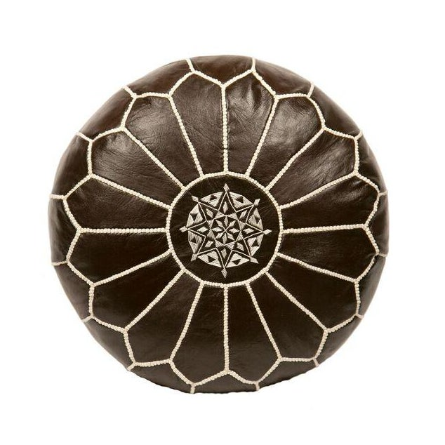 Embroidered Leather Pouf in Coffee - Image 1 of 3