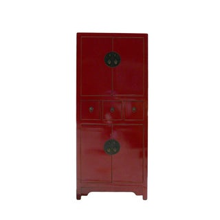 Chinese Red Lacquer Narrow Storage Cabinet
