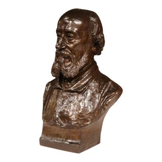 19th Century French Bronze Bust Signed by Jean-Francois Delorme, 1886