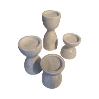 Mid Cent. Modern Italian Marble Candleholders - 4