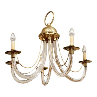 Charles Hollis Jones Style Lucite & Brass Chandelier