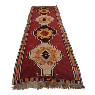 Vintage Turkish Hand Woven Kilim Rug - 4′3″ × 12′9″