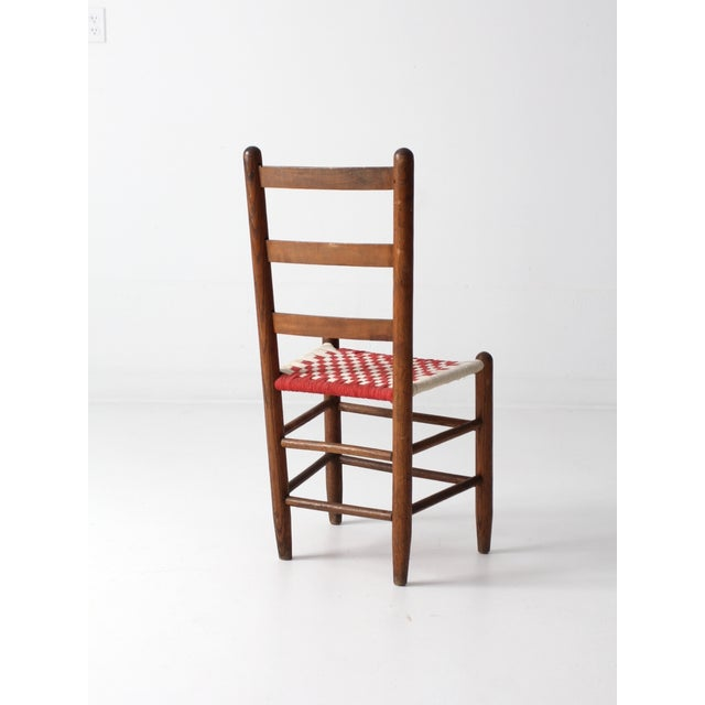 Ladder Back Chair with Woven Fabric Seat - Image 5 of 9