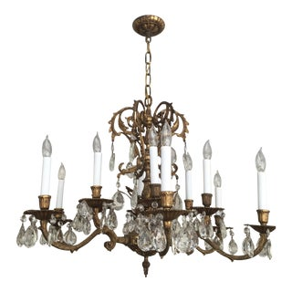 Bronze & Crystal Chandelier