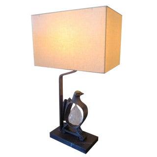 Paul Marra Cast Bronze Rock Dove Lamp in Light Verdigris