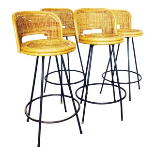 Vintage Rattan & Wrought Iron Bar Stools - Set of 4