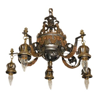 Wrought Iron Chandelier with Rams Heads