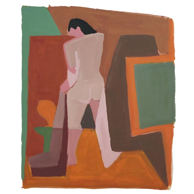 Mid-Century Gouache Cubist Female Nude Painting - Image 1 of 7
