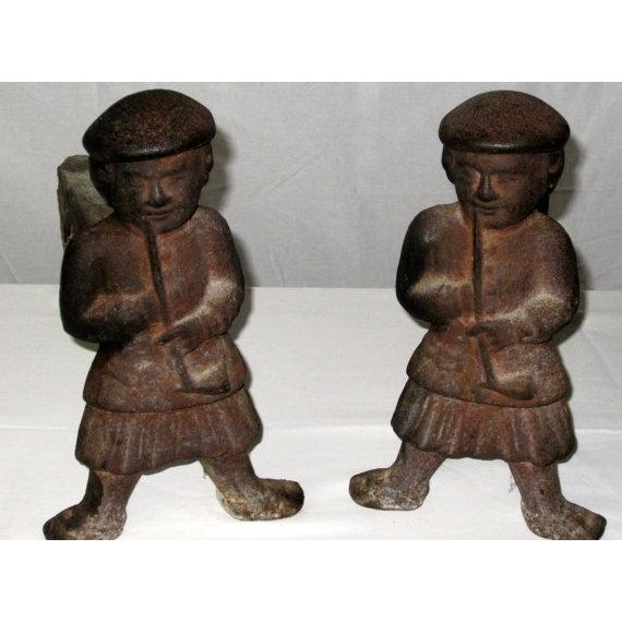 Cast Iron Scotsman Andirons - Pair - Image 2 of 3