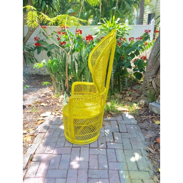 Mid-Century Rattan Wicker Fan-Back Peacock Chair - Image 4 of 9