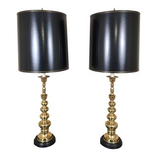 Frederick Cooper Vintage Tall Brass Hollywood Regency Lamps - A Pair
