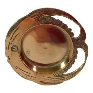 Vintage Round Brass Fish Dish