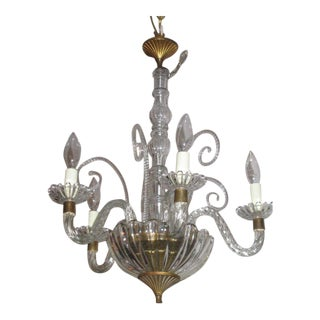 4 Arm Murano Glass Chandelier Attributed to Barovier