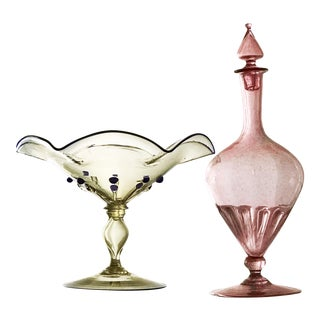 Steuben & Cappelin Italian Art Glass Decanter & Compote - A Pair