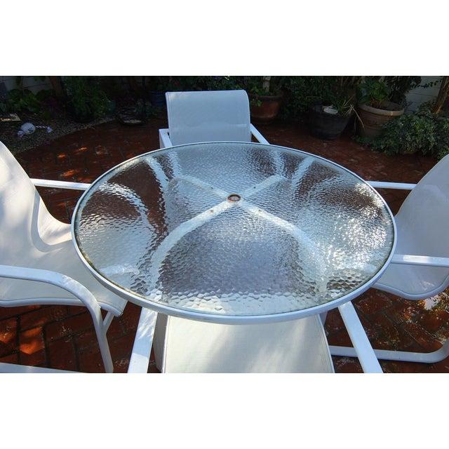 Brown Jordan Outdoor Dining Umbrella Table Set - Image 5 of 5