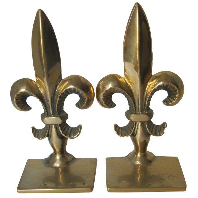 Brass fleur de lis bookends pair chairish - Fleur de lis bookends ...