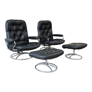 Vintage Black Leather Ekornes Stressless Lounge Chairs & Ottomans - a Pair