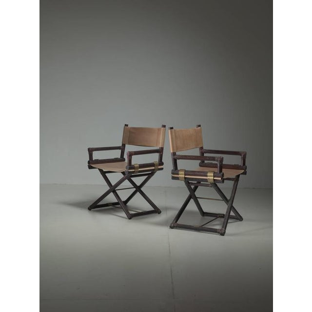 McGuire Pair of Wood, Leather and Brass Director's Chairs, USA, 1950s - Image 3 of 4