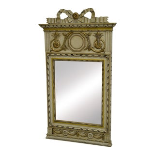 French Louis XV Style Painted Gilt Accent Trumeau Mirror
