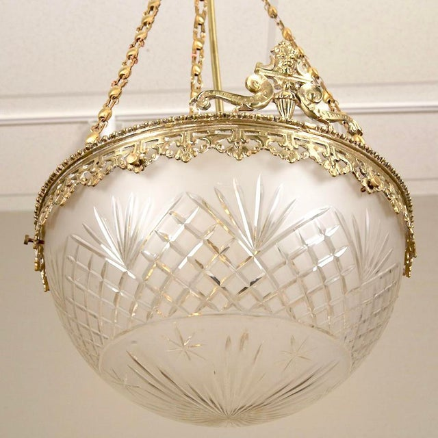 Gilt Bronze and Etched Glass Dome Hanging Fixture - Image 4 of 7