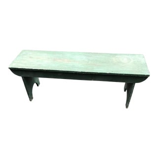 Antique French Country Green Painted Large Primitive Bench