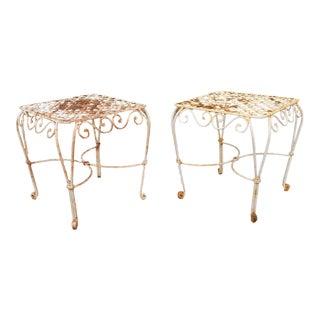 White Iron Garden Patio Side Tables - A Pair