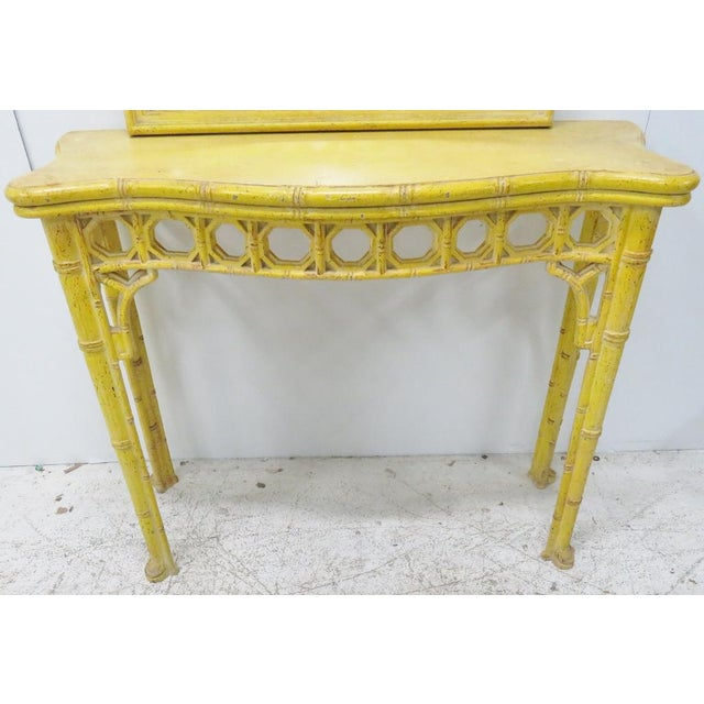 Chinoiserie Yellow Console Table & Mirror - Image 5 of 8