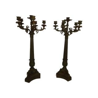 19th Century 6-Light Bronze Candelabras - A Pair