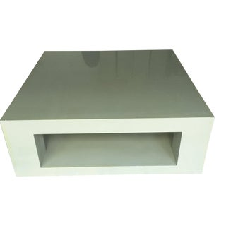 Modern Parsons Elephant Grey Lacquer Coffee Table