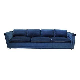 1970s Blue Velvet Tuxedo Sofa