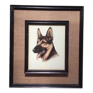 Vintage German Shepherd Dog Print in Burlap and Wood Frame