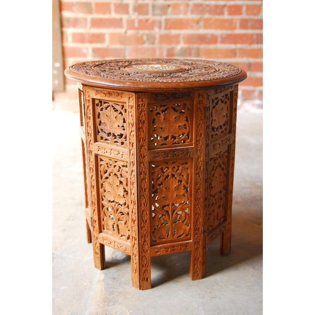 Octagonal Carved Tabouret Moroccan Side Or Drink Table