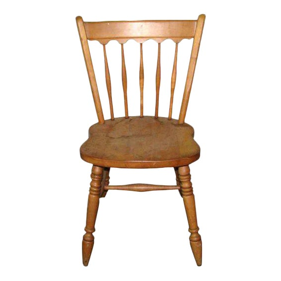 Simple wooden spindle back chair chairish