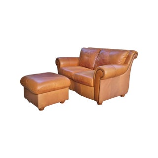 Italian Brown Leather Settee & Ottoman