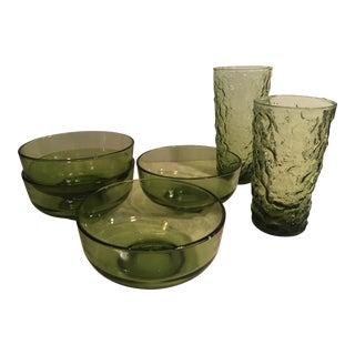 Mid-Century Avocado Glasses & Bowls - Set of 6