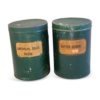 Antique Apothecary Herbalist Tins - Set of Two