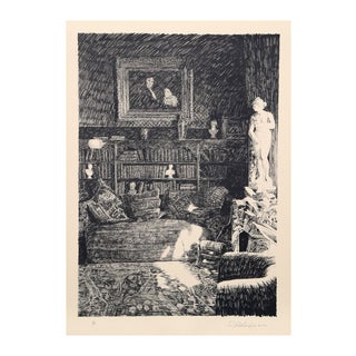 "Roland Descombes ""The Library"" Lithograph"