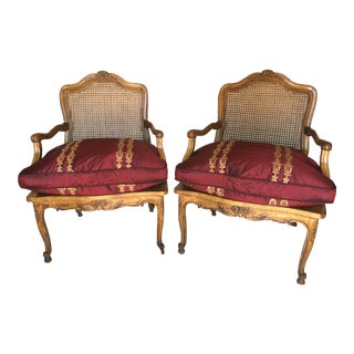 French Country Carved Bergere Chairs - A Pair