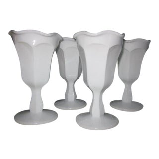 Colonial Footed Milk Glass Parfaits - Set of 4