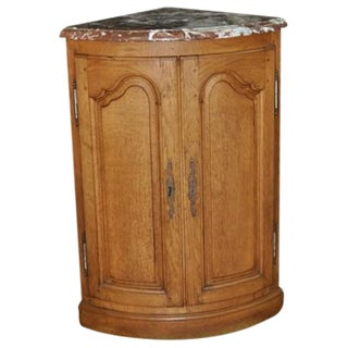 French Oak Marble Top Corner Cabinet