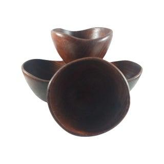 Asymmetrical Teak Salad Bowls- Set of 4