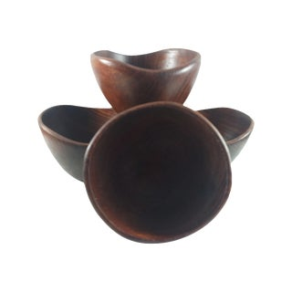 Asymmetrical Teak Salad Bowls- Set of 4